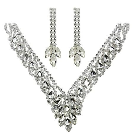 Teardrop Cubic Zirconia Necklace Earrings Set,