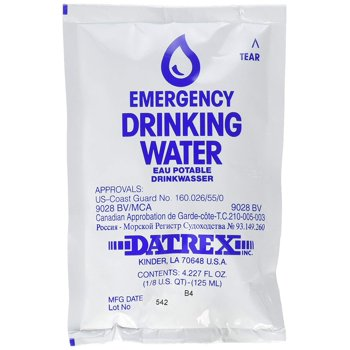 64-Pack Datrex Emergency Survival Water Pouch, 125ml