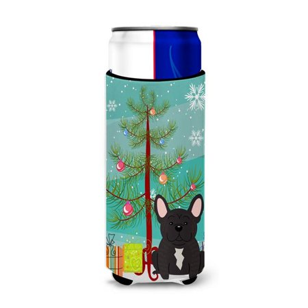 Merry Christmas Tree French Bulldog Brindle Michelob Ultra Hugger for Slim Cans ()