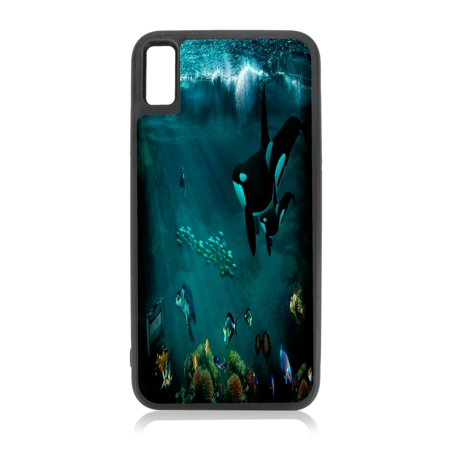 Orca Killer Whales Under the Sea Design Black Rubber Case for iPhone XR - iPhone XR Phone Case - iPhone XR Accessories