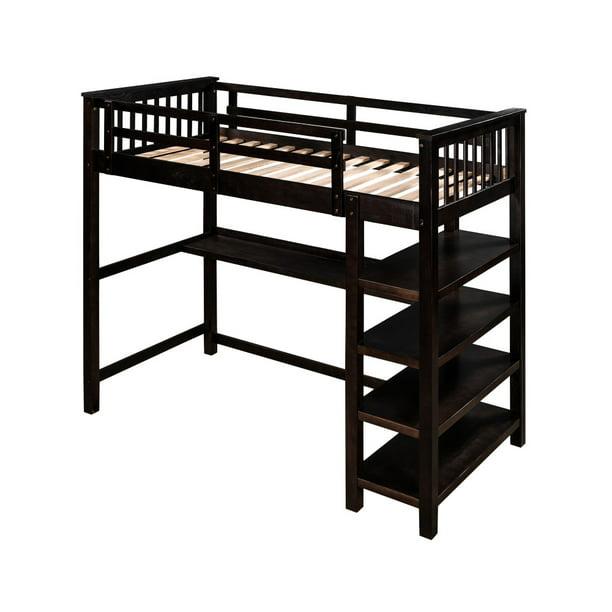 Rubber Wooden Twin Size Loft Bed With Storage Shelves And Under Bed Desk Espresso Walmart Com Walmart Com