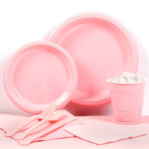Classic Pink Plastic Tableware Party Pack for 20