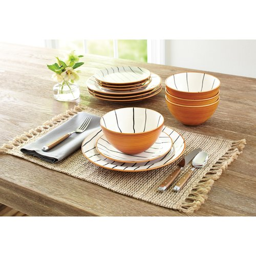 Better Homes and Gardens 12-Piece Sabin Striped Dinnerware Set