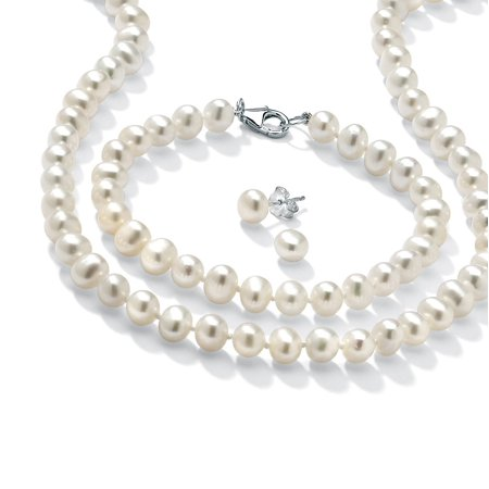 3 Piece Cultured Freshwater Pearl Necklace Bracelet and Earrings Set in Sterling Silver