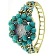 Women's Antique Gold Bangle Vintage Watch with Turquoise Faceted Stones and Crystals
