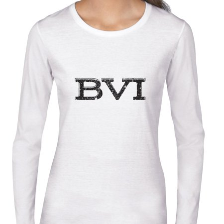 Bvi British Virgin Islands Simple Font Graphic Womens Long Sleeve T Shirt