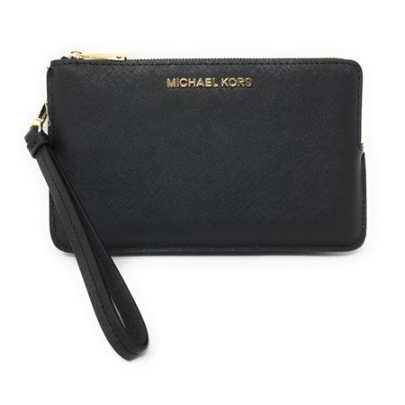 Michael Kors Jet Set Travel Extra Large Double Gusset Top Zip Saffiano Leather Wristlet (Black)