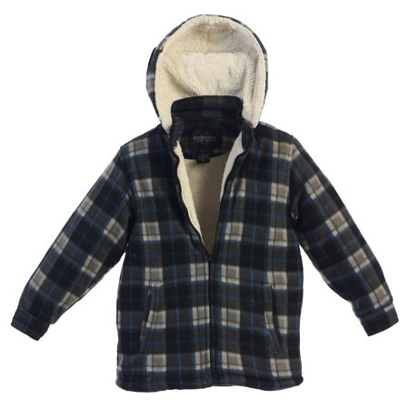 Gioberti Boys Royal Blue Black Dark Gray Plaid Hooded Flannel - Flannel Boys Jacket