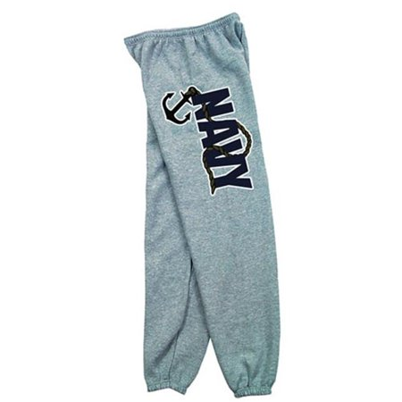 Fox Outdoor 64-777 S Mens Navy With Anchor Logo One Sided imprint Sweatpant, Heather Grey - Small Fleece T-shirt Sweatpants
