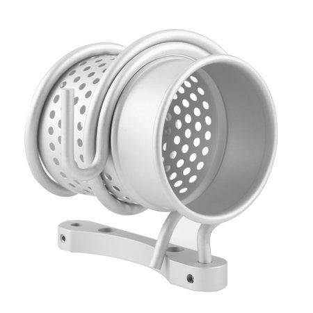 Bathroom Wall Mount Hair Dryer Holder Rack+Comb Storage Cutout Cup Organizer - image 7 de 8