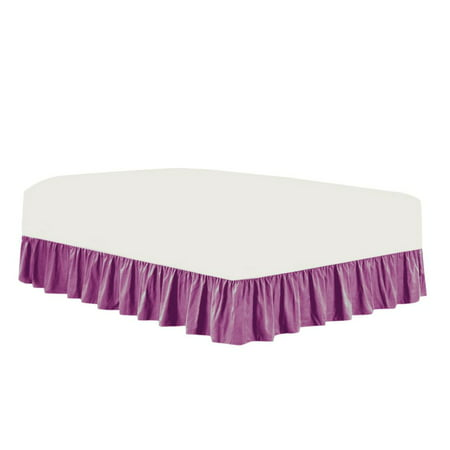 The Great American Store- 3 Side Coverage Ruffle/Gathered Bed Skirt with 20 Inch Drop Length (Cal King, Solid Lavender) 1800 Series Brushed Microfiber - Covers Bed Legs and Frame