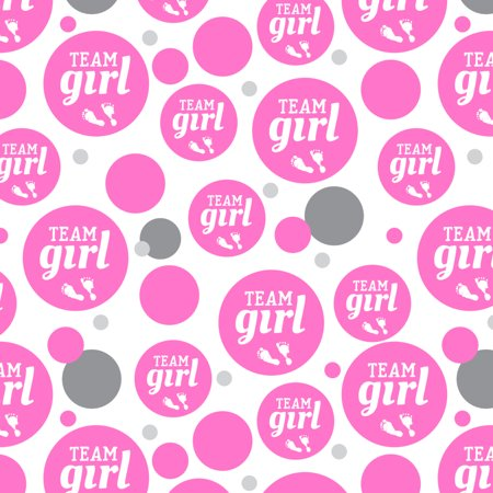 Team Girl Baby Pink Footprints Premium Gift Wrap Wrapping Paper Roll