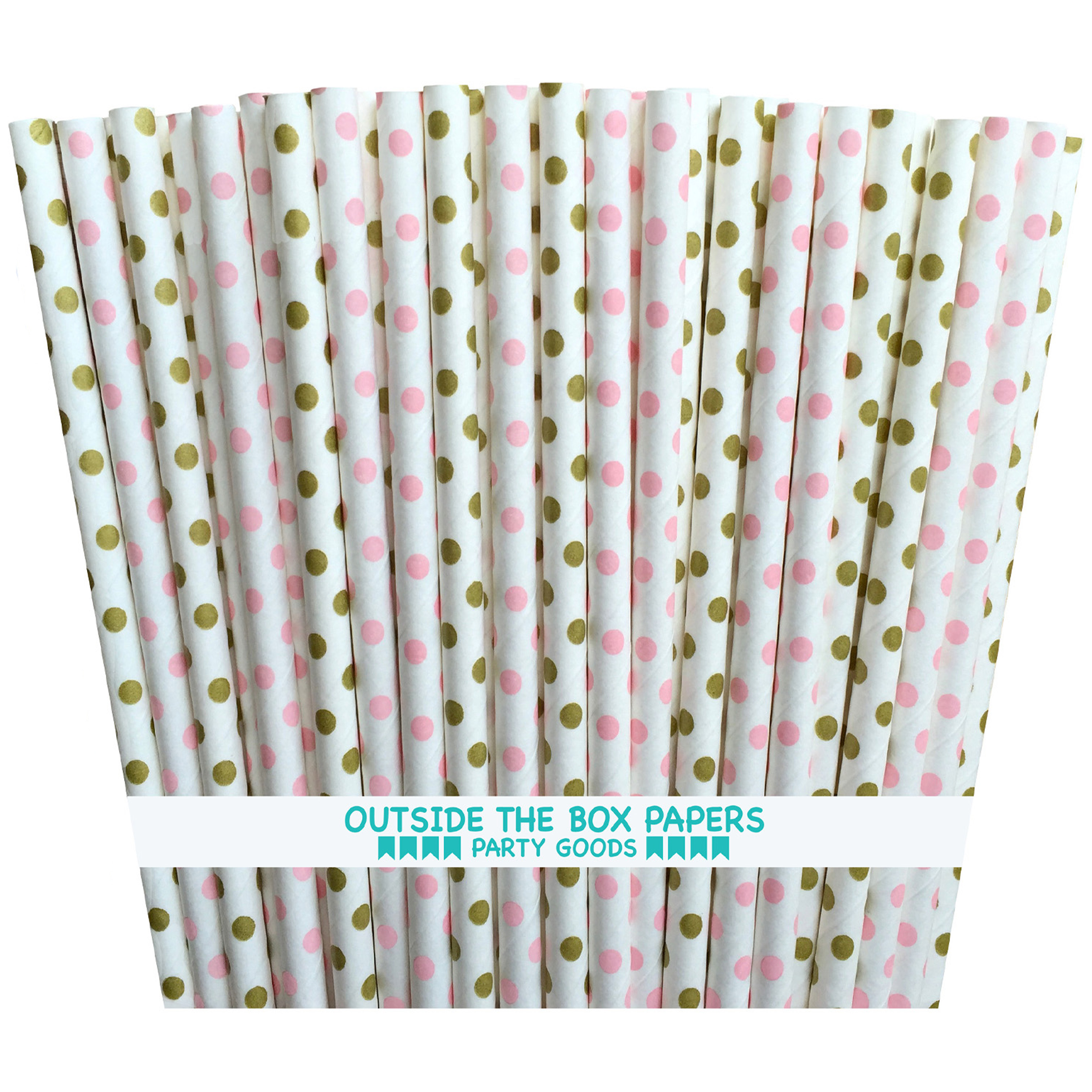 Gold, Pink and White Polka Dot Paper Straws  100 Pack