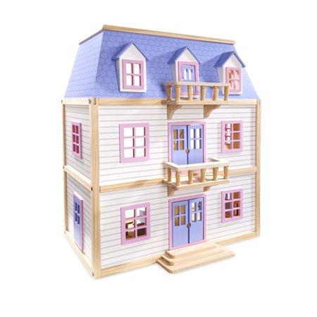 Melissa Doug Modern Wooden Multi Level Dollhouse With 19 Pcs Furniture White
