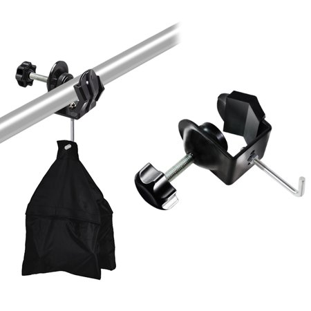 Clip Video Metal (Loadstone Studio Metal U Clamp Clip with Hook for Weight Sand Bag, Boom Arm Stand Support Kit, Photo Video Studio, WMLS4226)