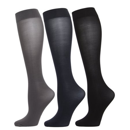 MeMoi Solid 3 Pair Microfiber Trouser Socks One Size / Gray/Navy/Black MJT (Just My Size Trouser Socks)