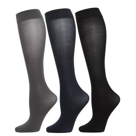 184b36404c7 MeMoi - MeMoi Solid 3 Pair Microfiber Trouser Socks One Size    Gray Navy Black MJT 1003 - Walmart.com