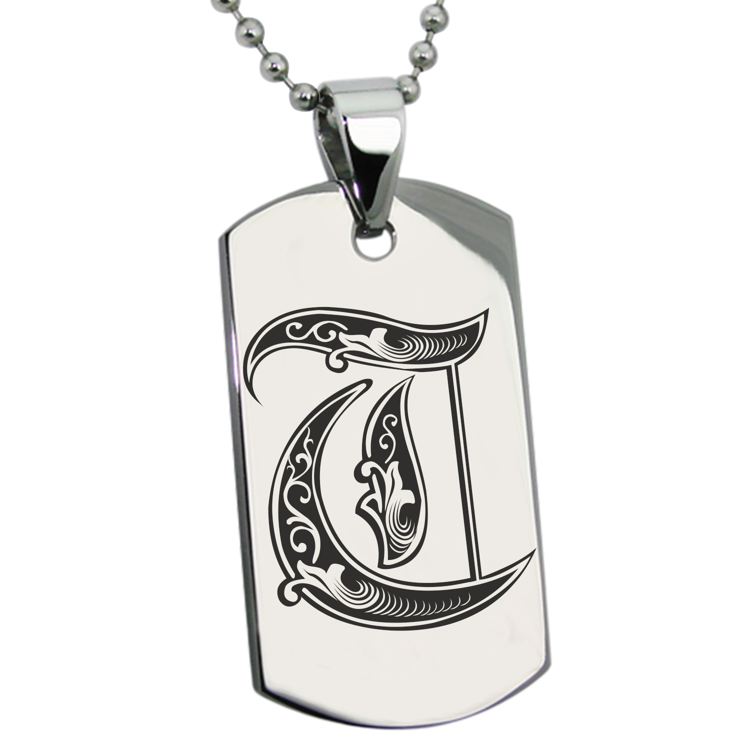 Stainless Steel Letter T Initial Royal Monogram Engraved Dog Tag Pendant