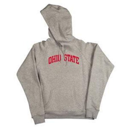 - Ohio State Buckeyes Women's Hooded Sweatshirt - Ohio State Arched - By Champion - Oxford Heather