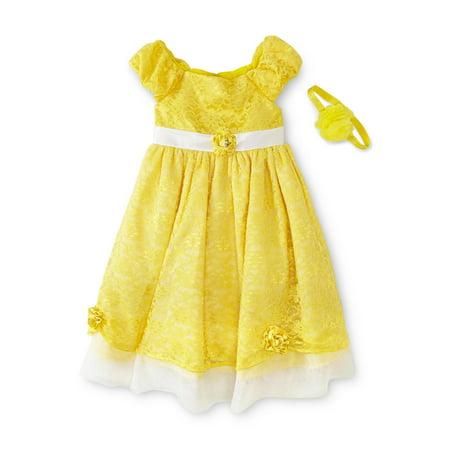Girls Disney Princess Belle Costume Dress & Headband Yellow