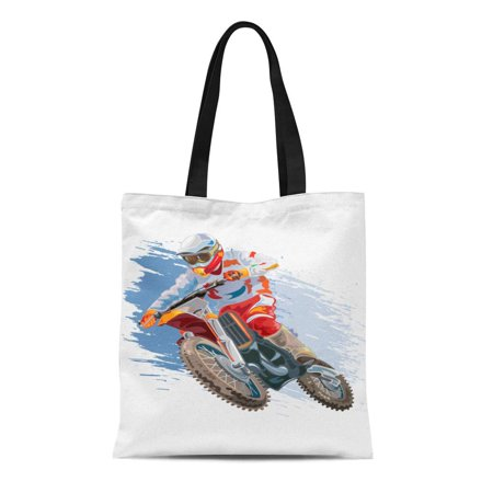 ASHLEIGH Canvas Tote Bag Helmet Motocross Rider on Motorcycle Mountain Action Bike Biker Reusable Shoulder Grocery Shopping Bags