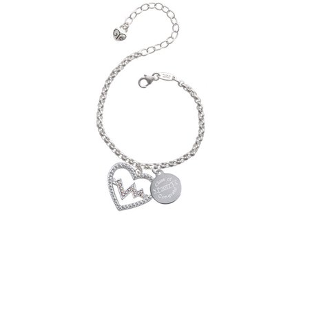 Silvertone Large Clear Crystal Heart with AB Crystal Heartbeat Class Of 2017 Congrats Engraved Bracelet