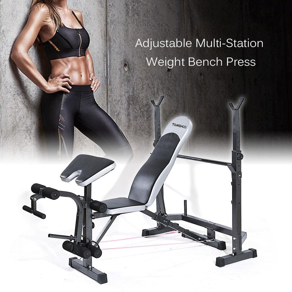 TOMSHOO Adjustable Multi Station Weight Bench Home Gym Fitness Equipment    Walmart.com