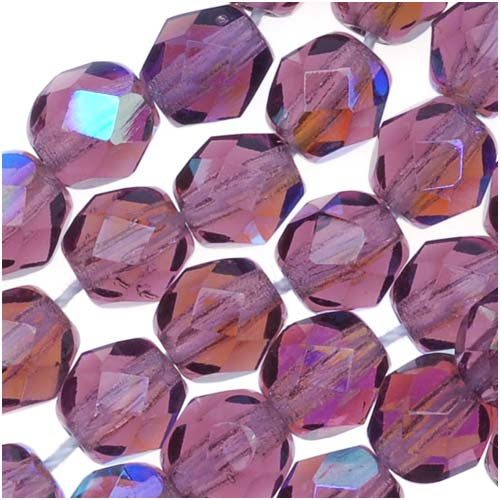 Czech Fire Polished Glass Beads 6mm Round Amethyst AB (25)