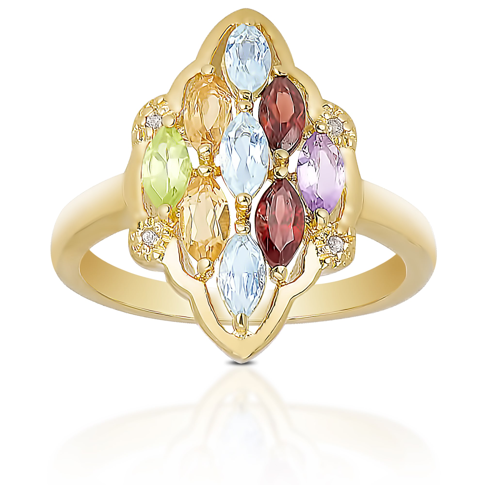 Dolce Giavonna  Gold Over Sterling Silver Multi-gemstone Cluster Ring