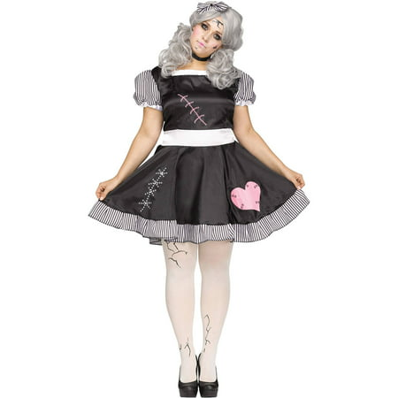 Broken Doll Women's Plus Size Halloween Costume - Doll Face Makeup Halloween