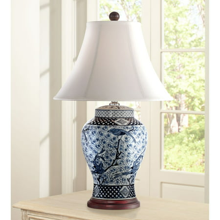 Barnes and Ivy Traditional Table Lamp Porcelain Blue and White Bird and Branch Jar White Bell Shade for Living Room Family Bedroom