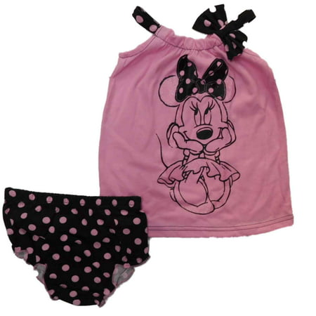 Disney Infant Girls Minnie Mouse Pink Black Tank Top Dot Panty Outfit NB - Pink And Black Minnie Mouse Tutu