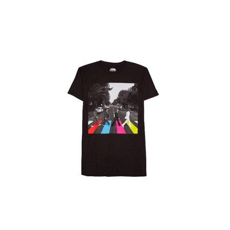 Men's The Beatles Abbey Road Neon Slim Fit T-shirt, Black (2XL) W45 - Neon And Black