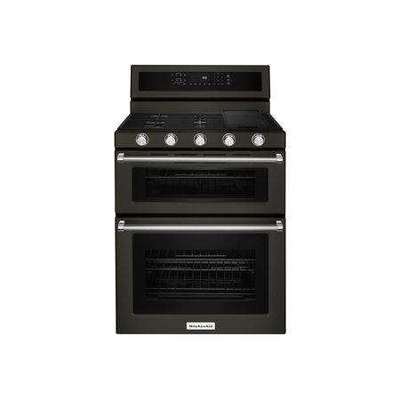 KitchenAid KFGD500EBS - Range (double oven) - freestanding - width: 29.9 in - depth: 28.5 in - height: 47.4 in - with self-cleaning - black stainless
