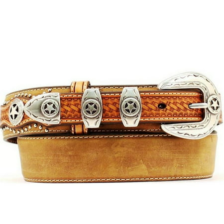 Nocona Western Belt Mens Leather Ranger Star Concho Brown N2501844