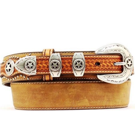 Nocona Western Belt Mens Leather Ranger Star Concho Brown (Nocona Concho)