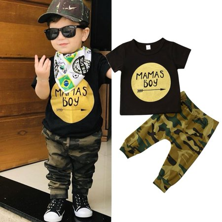 Toddler Kid Baby Boy Clothes Set T-shirt Tops  Camouflage Pants Casual Trousers Outfits - image 1 of 4