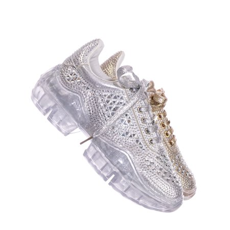 Crystal6 by Forever Link, Rhinestone Crystal Platform Sneaker - Women Metallic Clear Lace Trainer (Trainer Womens Shoes)