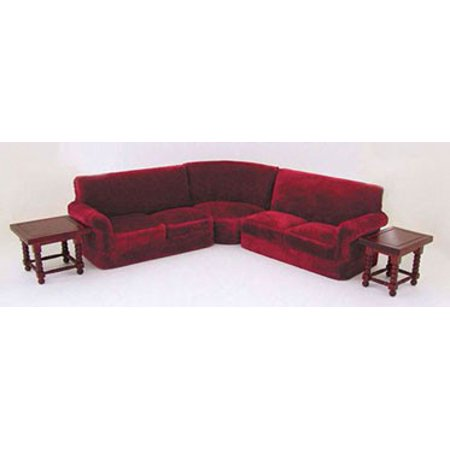 Dollhouse Corner Couch Set (5Pcs) In Red