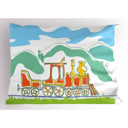 Steam Engine Pillow Sham Colorful Small Old Train Country Retro Kids Art Vintage Cartoon Print, Decorative Standard Queen Size Printed Pillowcase, 30 X 20 Inches, Green Blue Orange, by Ambesonne
