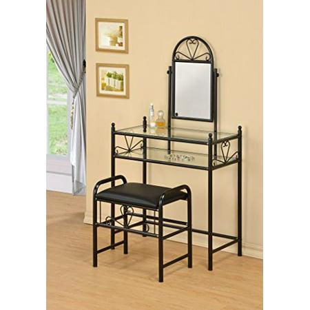 3-Piece Metal Make-Up Heart Mirror Vanity Dresser Table and Stool Set, - Heart Vanity Set