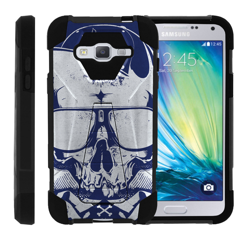 Samsung Galaxy J3 |Amp Prime | Express Prime| Samsung Sol| J3V Case Dual Layer Shell SHOCK High Impact Kickstand Case with Unique Skull Designs by Miniturtle® - Mechanical Skull