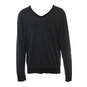Kenneth Cole Reaction NEW Black Gray Striped Mens Size XL V-Neck Sweater