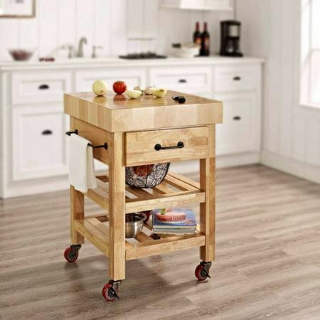 Butcher Block Rolling Kitchen Cart : Crosley Furniture Marston Butcher Block Kitchen Cart - Walmart.com
