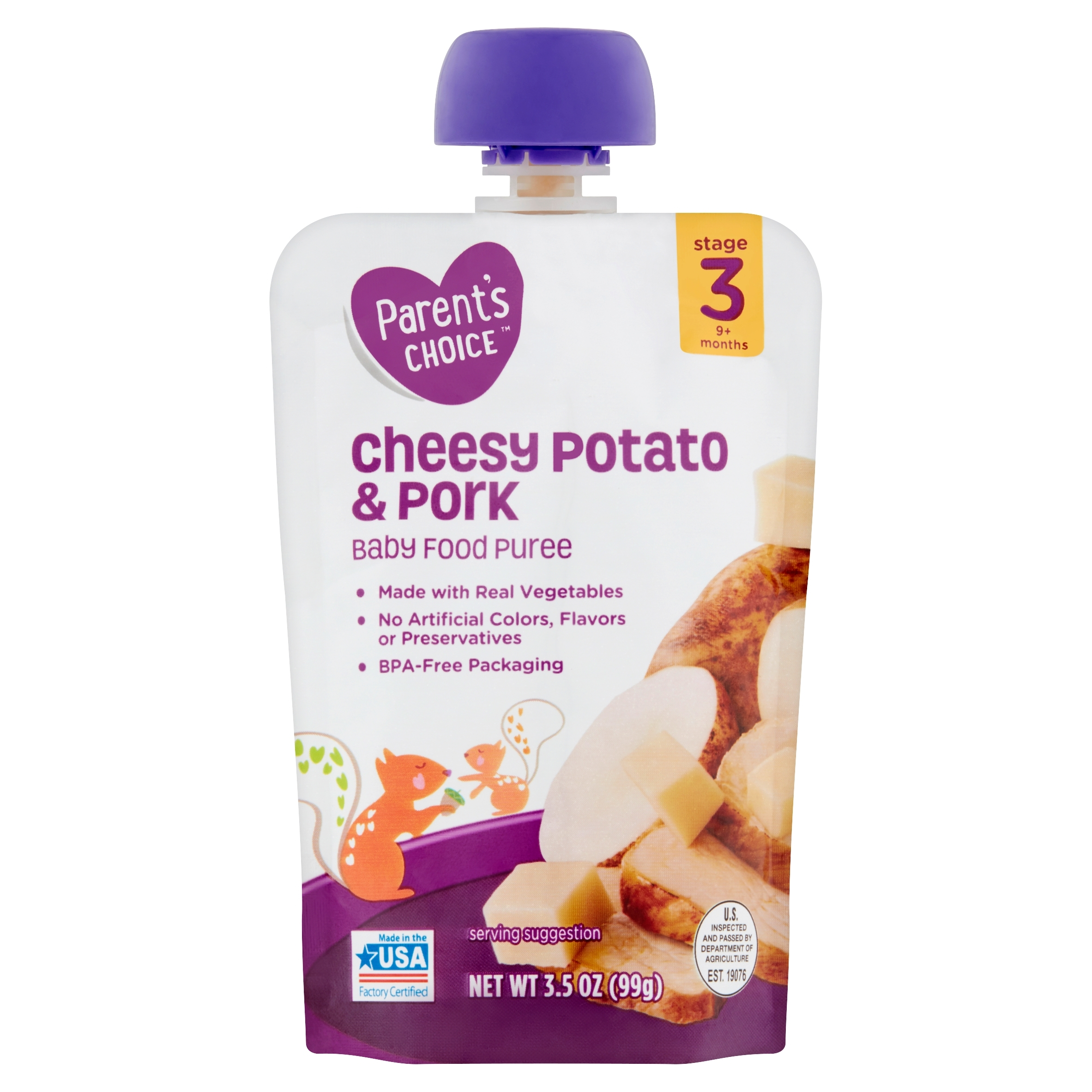 Parent's Choice Cheesy Potatoes & Pork, Stage 3, 3.5 oz Pouch