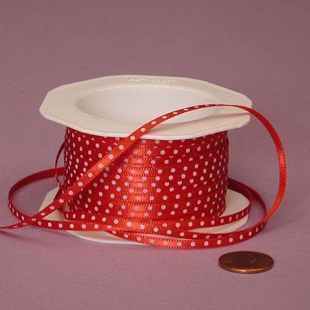 Red and White Thin 1/8 inches x 25 yards Polka Dot Decorative Ribbon (Red And White Polka Dot)