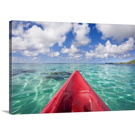 Great BIG Canvas M Swiet Productions Premium Thick-Wrap Canvas entitled French Polynesia, Tahiti, Bora Bora, Red Outrigger Canoe In
