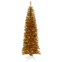 "Vickerman Artificial Christmas Tree 6.5' x 27"" Antique Gold Pencil Dura-lit 300 Clear Lights"