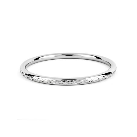 - Stainless Steel Scalloped Design Bangle Bracelet