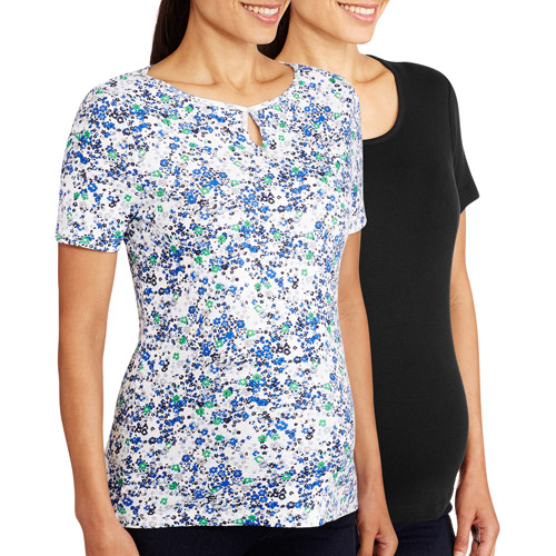 White Stag Maternity Basic Scoop Neck & Key Hole Tee, 2-Pack Value Bundle